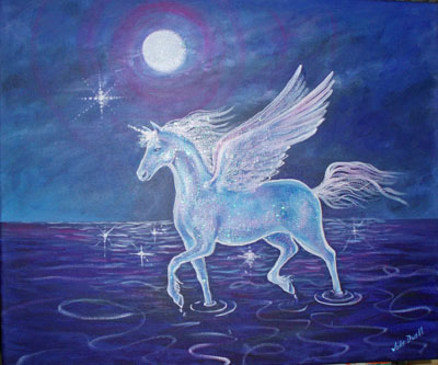 "12. ""Pegasus"" $190 mixed media on stretched canvas 60x50cm"